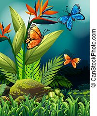 Nature scene with monarch butterflies at night