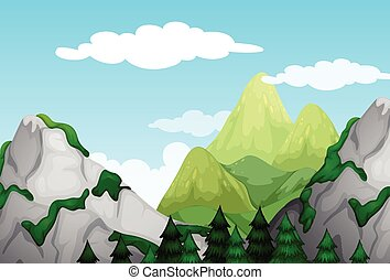 Nature scene with mountains at daytime