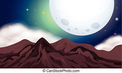 Nature scene with mountains at night
