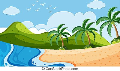 Nature scene with ocean and trees on the hills