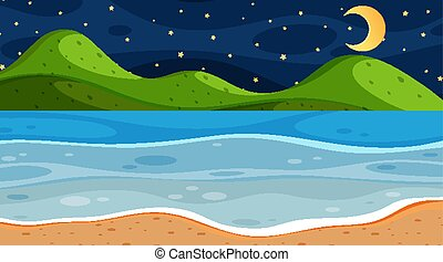 Nature scene with ocean at night