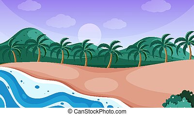 Nature scene with ocean with trees on the hills