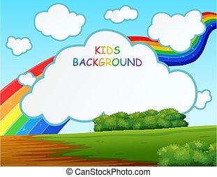 Nature scene with rainbow on the background