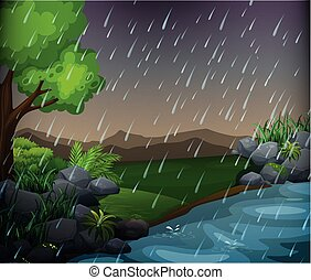 Nature scene with rainy day in the park