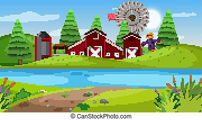 Nature scene with red barn on the farmland illustration