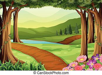 Nature scene with river and forest illustration