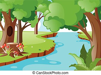 Nature scene with river in the forest