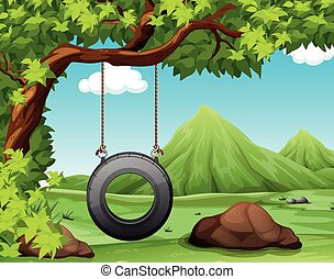 Nature scene with swing in the park