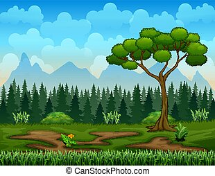 Nature scene with tree landscape