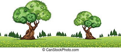 Nature scene with trees in the park