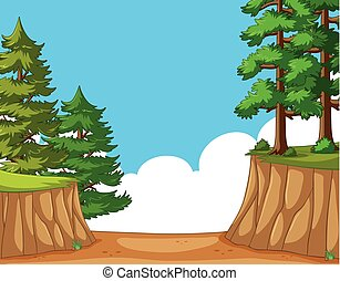 Nature scene with trees on the cliff