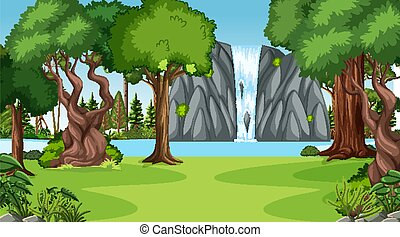 Nature scene with waterfall in the forest landscape