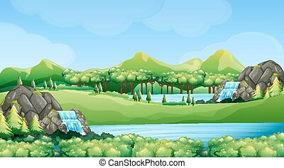 Nature scene with waterfalls and lake