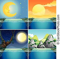 Nature scenes with moon at night