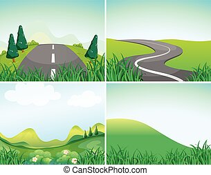 Nature scenes with road and hills