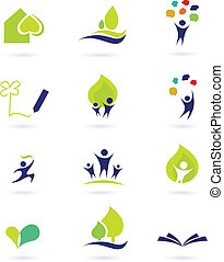 Nature, school and education icons - Vector illustrations...