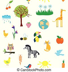 Nature seamless pattern with funny design, illustration