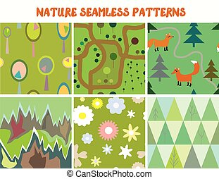 Nature seamless patterns set with tree, flowers, mountains