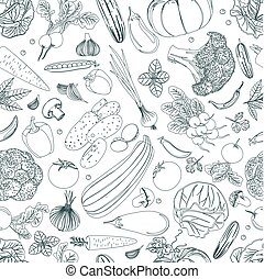 nature seamless texture with sketch of vegetables for your desig