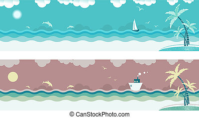 Nature seascape with sea waves and palms on island.Vector...