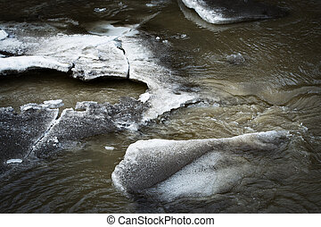 melting ice floes on the river