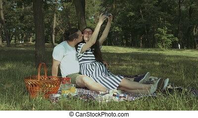 nature, selfie, pregnant, insouciant, prendre, couple