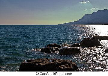 nature series: Crimea landscape, black sea and mountain