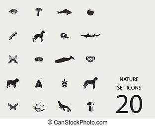 Nature set of flat icons. Vector illustration