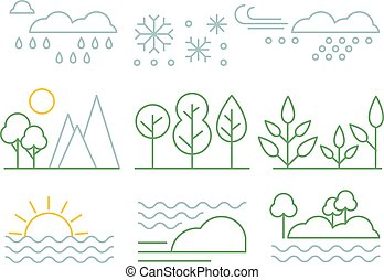 Nature set, trees, plants, sea and weather forecast signs n a linear style vector illustration