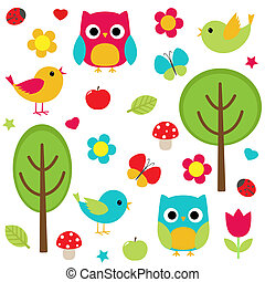 Vector set - owls, birds, flowers, butterflies, ladybugs etc.