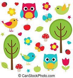 nature set - Vector set - owls, birds, flowers, butterflies,...