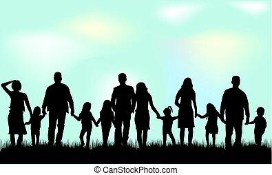 nature., silueta, família