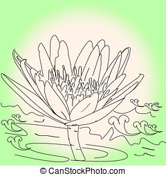 sketch outline lotus flower art line pattern