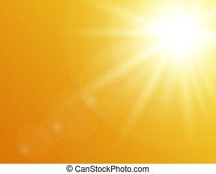 nature, soleil, illustration, arrière-plan., vecteur, fond, orange, briller