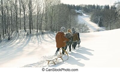 nature., spaziergang, winter, teenager