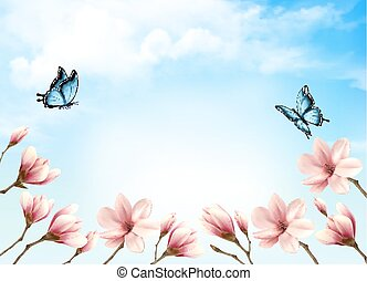 Nature spring background with beautiful magnolia branches on...