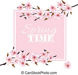 Nature spring background with cherry blossoms. Vector.
