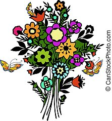 Nature spring flowers with butterfly. Vector illustration.