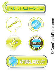 Nature stickers and buttons set