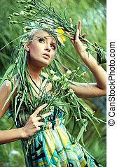 nature-style, kobieta, młody, portret