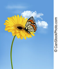Nature summer yellow flower with butterfly. Vector illustration.