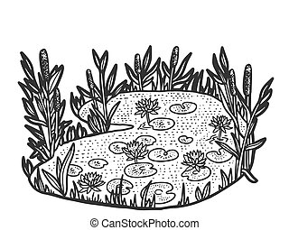 Nature, swamp. Sketch scratch board imitation. Black and white. Engraving vector illustration.