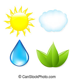 Nature Symbols, Sun, Cloud, Drop Of Water And Leaf, Isolated...
