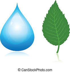 Nature symbols. Blue water drop and green leaf.