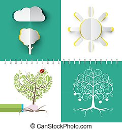 Nature Symbols Set. Vector Paper Cut Cloud, Tree and Sun. Human Hand Holding Heart Shaped Tree.