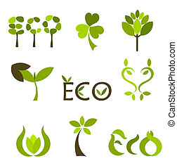 Nature symbols - Various eco and nature symbols. Vector ...