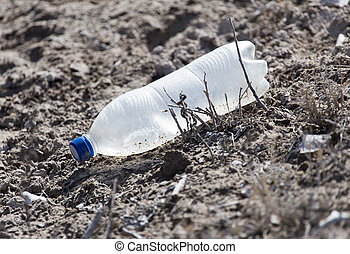 nature., szemét, homok, palack, műanyag