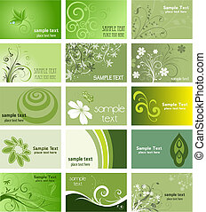 Large collection of business cards with a nature theme