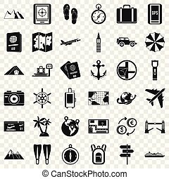 Nature travel icons set, simple style