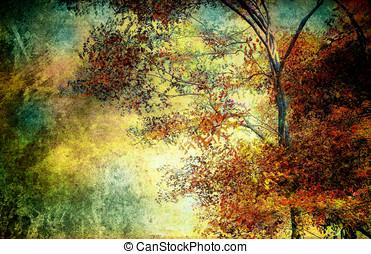Nature Trees Landscape - Heavy textured nature trees, Autumn...
